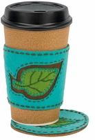 Handmade Leaf Coaster and Coffee Cozy Embroidery Kit