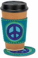 Handmade Peace Sign Coaster and Coffee Cozy Embroidery Kit