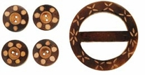 Handmade Wood Buckle, Buttons Carved Circles
