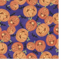 Happy Pumpkins 43/44in Wide 100% Cotton D/R Orange/Multi
