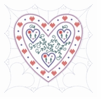Heart Themed Stamped Quilt Blocks