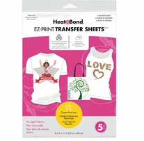HeatnBond EZ Print Transfer Sheet Light Fabrics 8.5X11 5/Pkg