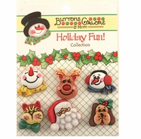 Holiday Buttons Santa & Friends