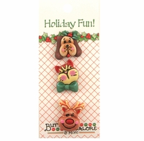Holiday Buttons Santa's Pets