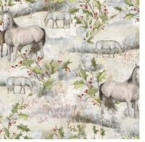 Holiday Treat Pasture Horse 43/44in Wide 100% Cotton D/R