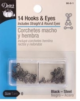 Hooks and Eyes Size 0 Black