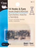 Hooks and Eyes Size 1 Black