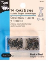 Hooks and Eyes Size 2 Black
