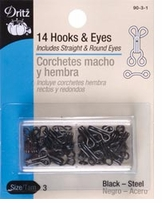 Hooks and Eyes Size 3 Black