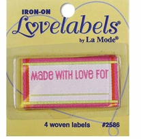 Iron-On Lovelabels Made With Love Pink 4/Pkg