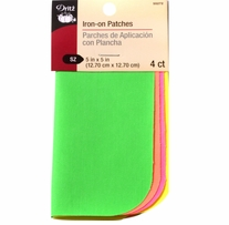 Iron-On Poplin Patches Assorted Neon 5inx5in 4/Pkg