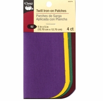 Iron-On Twill Patches School Colors 5inx5in 4/Pkg