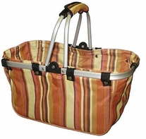 JanetBasket Large Aluminum Frame Bag Brown Stripes