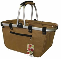 JanetBasket Large Aluminum Frame Bag Walnut