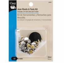 Jean Rivets & Tools 5/16in Nickel 24 Sets