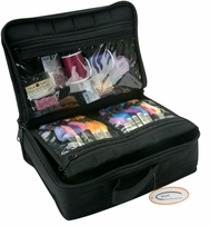 Large Organizer With See Through Panels Quilted Black Cotton