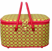 Large Oval Hobby Basket Lime Green 12.625inX8.625inX7.25in