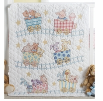 Little Train Crib Cover Stamped Cross Stitch Kit,