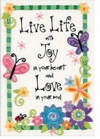 Live Life Mini Crewel Kit Stitched In Thread