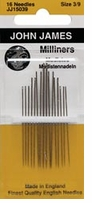 Milliners, Straw Hand Needles Size 3/9