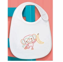 Monkey Bib Embroidery Kit 7.5 x 9in 1/Pkg