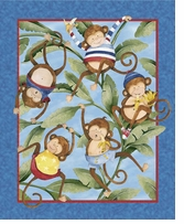 Monkey Business Quilt Panel 43/44in Wide 100% Cotton D/R
