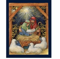 Nativity Door Panel 43/44in Wide 100% Cotton D/R
