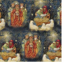 Nativity-Three Kings 43/44in Wide 100% Cotton D/R