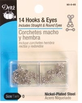 Nickel Hooks and Eyes Size 0