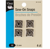 Nickel-Plated Sew-On Snaps Size 15mm