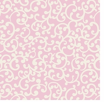 Nursery Rhyme Toile Scroll Pink Fabric