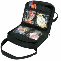 Oval Craft Bag Quilted Black Cotton