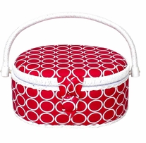 Oval Sewing Basket Fuchsia 9inX7inX4in