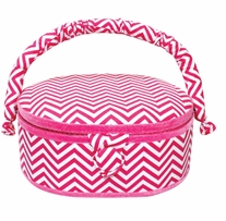Oval Sewing Basket Hot Pink Chevron 9inx7inx4in