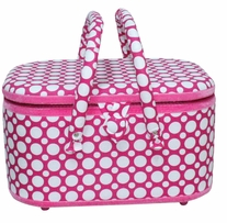 Oval Sewing Basket Hot Pink With White Dots 12-5/8inx8-5/8inx7-1/4in