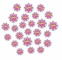 Patterned Wood Button Medley Pink Daisy