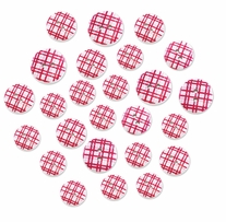 Patterned Wood Button Medley Pink Plaid