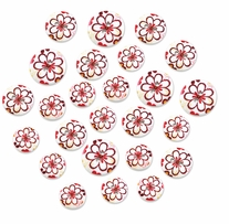 Patterned Wood Button Medley Vintage Daisy