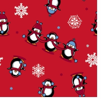 Penguins Fleece 58/60in Wide 100% Polyester D/R Red