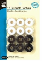 Pre-Wound Plastic Bobbins Black And White Thread