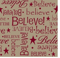 Printed Burlap Christmas Believe 47/48in Wide 100% Jute D/R