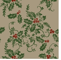Printed Burlap Christmas Holly Berries 47/48in Wide 100% Jute D/R