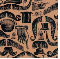 Printed Burlap Jute Fabric Mustaches 47inX8yards
