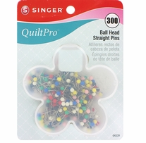 QuiltPro Ball Head Straight Pins In Flower Case