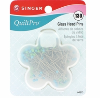 QuiltPro Glass Head Pins In Flower Case Size 22 1-3/8in