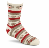 Red Heel Crew Monkey Stripe Socks Medium Brown Size 1pr/Pkg