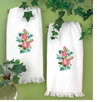 Roses And Ivy Guest Towels Stamped Embroidery