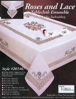 Roses and Lace Stamped Oblong Table Cloth For Embroidery - Click to enlarge