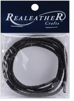 Round Braided Leather Black 3mm