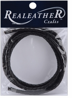 Round Braided Leather Black 5mm